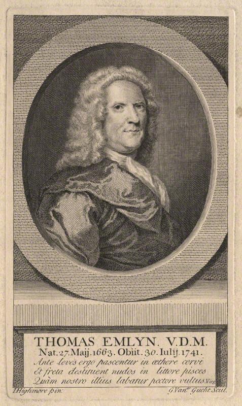 NPG D8717; Thomas Emlyn by Gerard Vandergucht, after Joseph Highmore