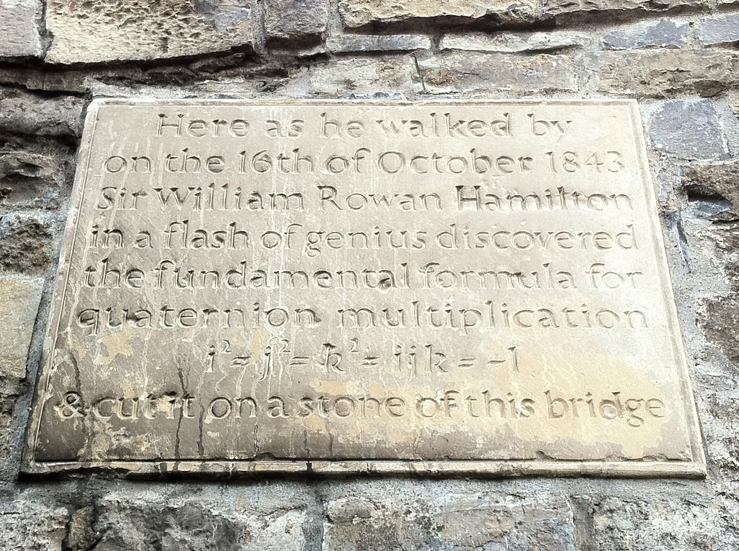 The quaternion plaque on Boombridge Cliff Bilbrey on Flickr (CC BY-NC 2.0)