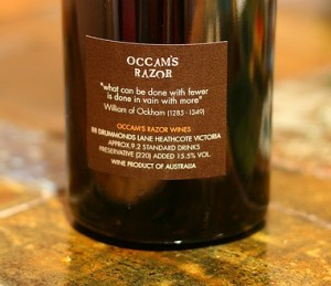 "The back label on a bottle of ""Occam's Razor"" wine (c) David McLeish/Flickr  (CC BY-SA 2.0)"