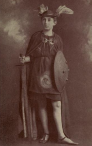 A boy dressed as a Celtic hero