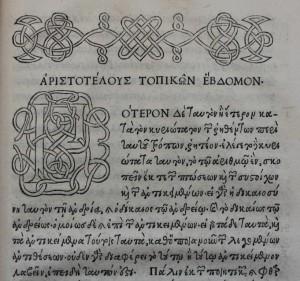 Aldine edition of Aristote Courtesy Edward Worth Library