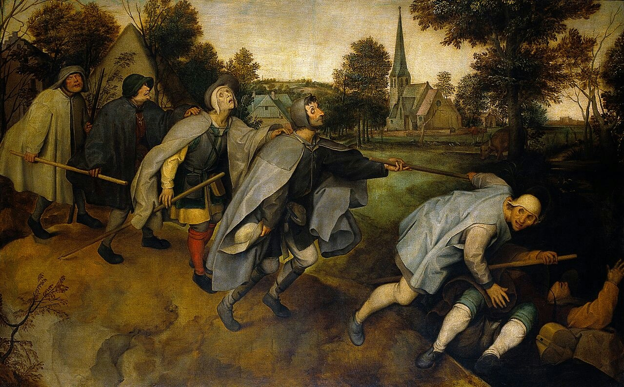 Painting of a line of blind men leading each other