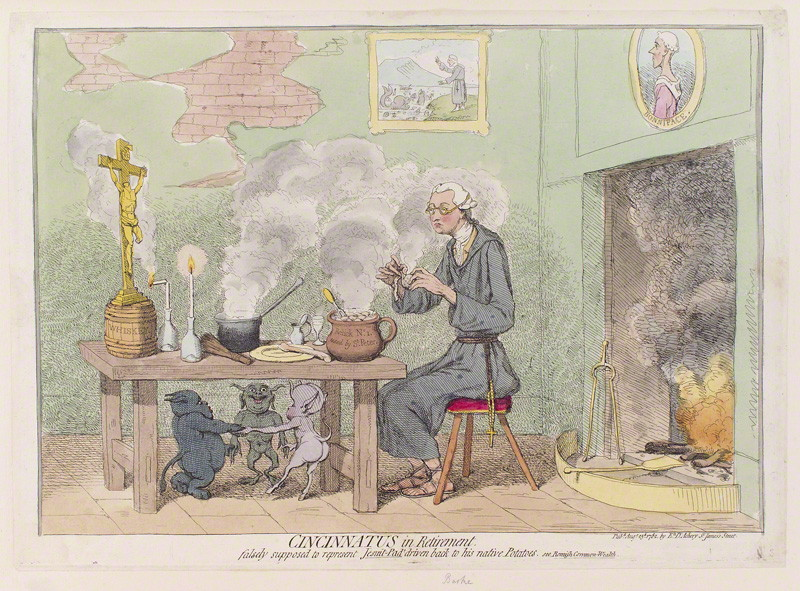 NPG D12313; Edmund Burke ('Cincinnatus in retirement') by James Gillray, published by  Elizabeth d'Achery