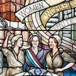 Detail of Belfast Women's stained glass window depicting three mill workers, with the words WOMEN WORKERS UNITE